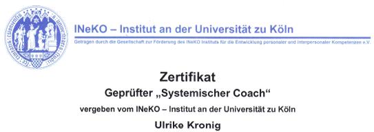 Kronig Coaching Zertifikat Systemischer Coach